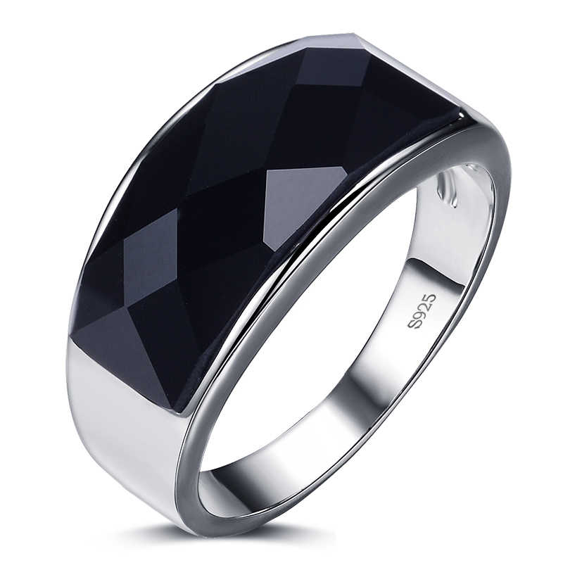 New arrival fashion black crystal 925 sterling silver men`s finger rings wedding ring for man jewelry wholesale no fade gift