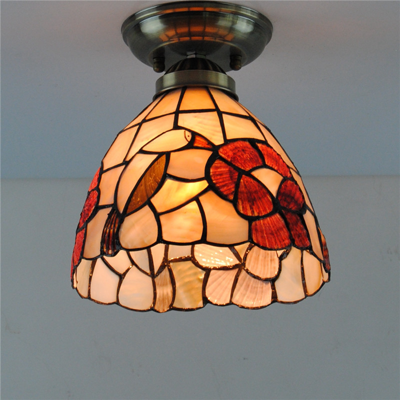 7 Tiffany Style Birds Shell Ceiling Light Mediterranean Vintage Stained Glass Hanging Lamp Lighting Fixtures For Bedroom CL2557 Tiffany Style Birds Shell Ceiling Light Mediterranean Vintage Stained Glass Hanging Lamp Lighting Fixtures For Bedroom CL255