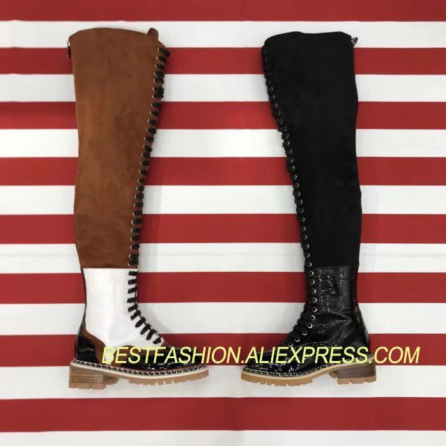 2018 Hot Spring Autumn Shoes Woman Thigh High Boots Suede Lace Up Western Cowboy Boots Designer Woman Leather Casual Boots T zobairou hot design suede ankle riding boots women western cowboy shoes woman fashion real genuine leather dicker boots 34 41