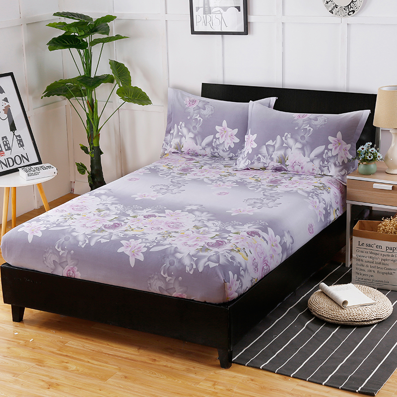 The New Fashion Hot Cotton Printed Pattern Bedspread Comfortable Breathable Bedding Three Sets Fitted Sheet+ Pillowcase