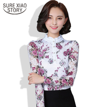 New 2017 Fashion Blusa Women Brand shirt Slim Pirnted shirt long-sleeved Female lace Tops Women lace blouse Plus size 4XL 36i 25