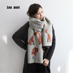 Image 1 - Winter bandana women cashmere Keep warm blanket scarf print fox high quality tassel pashmina ladies poncho and cape apparel