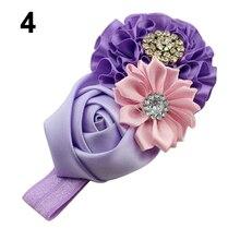 Hot Baby Girls Rhinestone Headband Ribbon Rose Hair Band Head Hair Accessories 5WBS 7G1Z