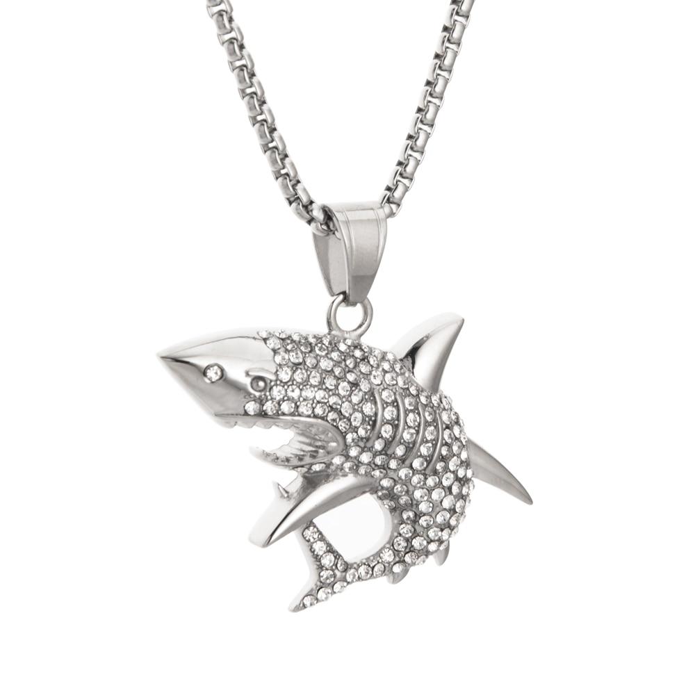 2019New Goofan Hiphop grand requin blanc collier pendentif haute qualité en acier inoxydable mode bijoux pour hommes femmes cadeau STN2350