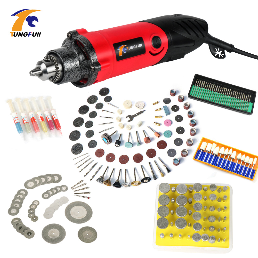 500W Mini Electric Drill Variable Speed Grinder Grinding Machine with Engraving Accessories for Dremel Rotary Tool 0.6~6.5mm