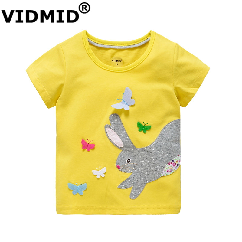 VIDMID baby gril t-shirt summer clothing for girl kids tees children short sleeve t shirt 100% cotton top quality designer brand