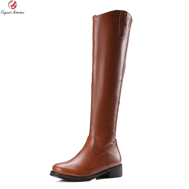 Original Intention Super Elegant Women Knee High Boots Round Toe Square Heels Boots High-quality Shoes Woman US Size 4-10.5 super elegant women ankle boots pointed toe square heels boots high quality black yellow gray shoes woman us size 4 10 5