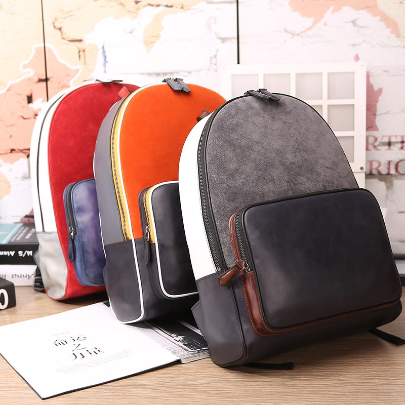 Handmade patina time off leather backpack laptop bags mens Work Bags travelling rucksacks knapsacks Custom Backpack Manufacturer