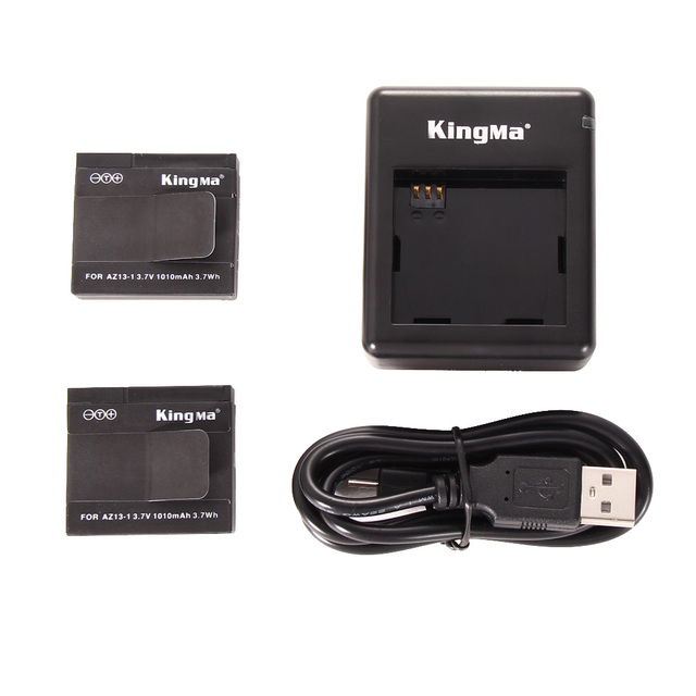 Hot 2 unids 1010 mah de la batería + cargador de batería para xiaomi yi acción accesorios de la cámara de la moda