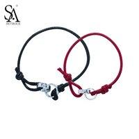 SA SILVERAGE 925 Sterling Silver Couple Leather Wrap Bracelet For Women And Men LOVE Bracelets