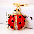 Exquisite Lovely Red Ladybird Keychain for Women Bag Pendant Purse Bag Buckle Key Chains Enamel craft Car Keyring PWK0713
