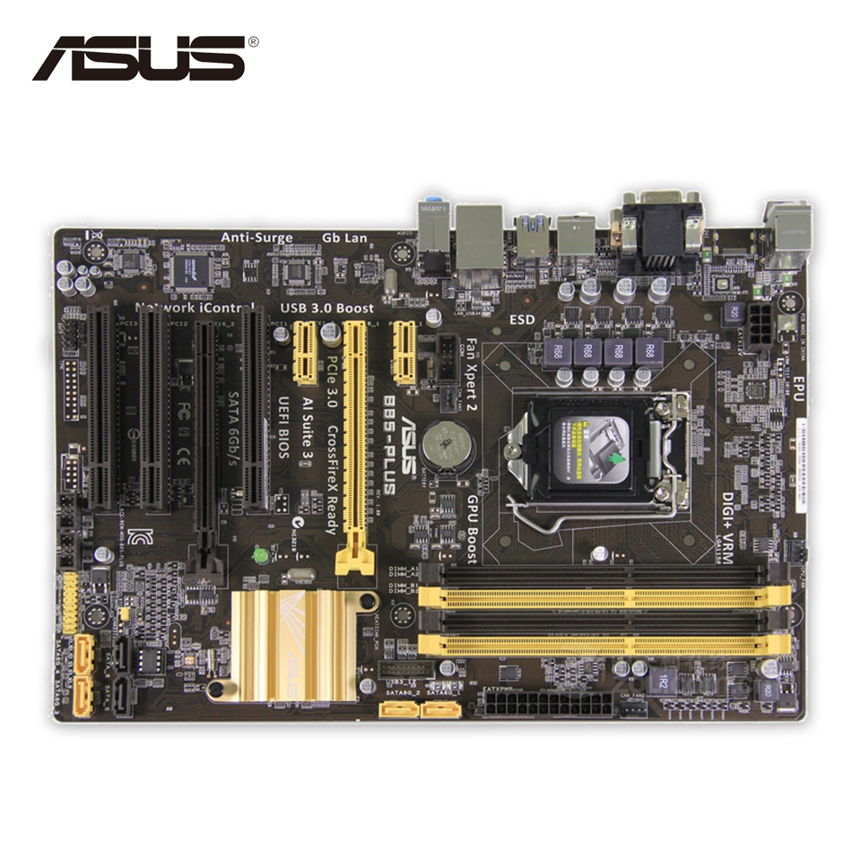 Original Used Asus B85-PLUS Desktop Motherboard B85 Socket LGA 1150 i7 i5 i3 DDR3 32G SATA3 USB3.0 ATX 100% Fully Test asus h87 plus deluxe board 1150 b85 motherboard