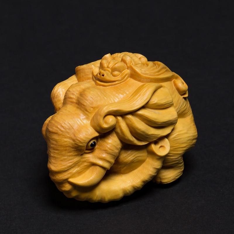 Chinois traditionnel artisanat bois mammouth figurine éléphant sculpture diy statue Animal sauvage enfants éducatifs Figure enfants jouet