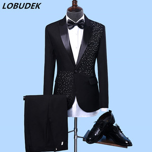 Men's Formal Suits Black white Crystals Slim Blazers Group musical performance Costume Wedding Party Prom Host singer Stage suit