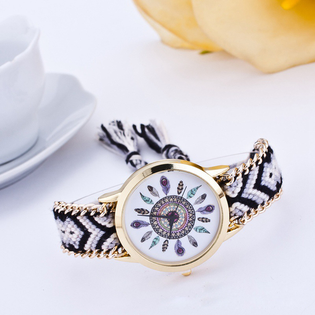 Handmade Braided Friendship Bracelet Watch New Arrival Feather HandWoven Wristwatch Ladies Quarzt Gold Watch Women Dress Watches