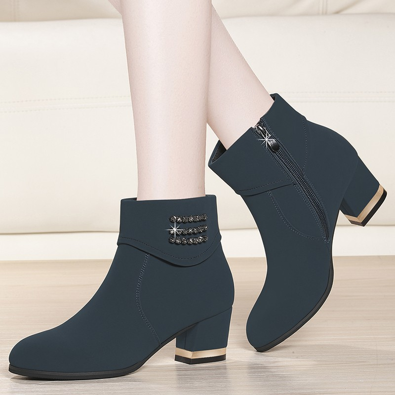 Women Autumn Zip Cow Suede Leather Ankle Boots 2019 Ladies Square High Heels Female Shoes Fashion Fashion Boot YG-A0213