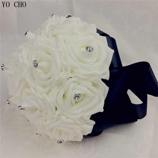 Yo cho black bridal wedding bouquet customized white wedding flowers yo cho black bridal wedding bouquet customized white wedding flowers crystal silk pe rose flower wedding mightylinksfo
