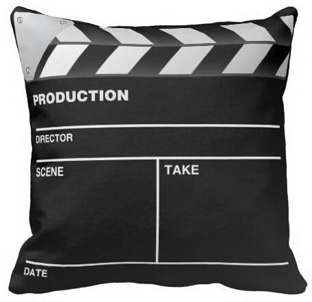 high quality funny movie maker clap board square zippered throw
