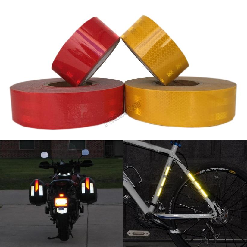50 mm X5m fényvisszaverő matricák ragasztószalaggal az autóbiztonsághoz Piros sárga autós matricák