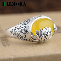 BALMORA 3 Colors Authentic 990 Pure Silver Vintage Lotus Flower Oval Rings For Women Lover Anniversary