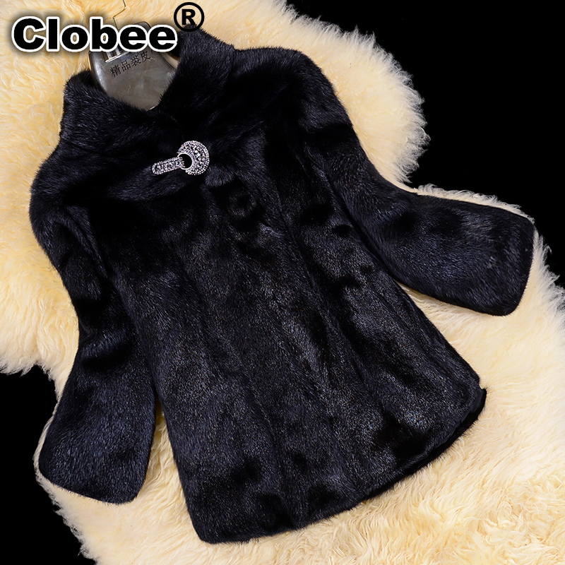 Mink Fur Coat Women Overcoat Short Design Stand Collar Marten Faux Fur Jacket Women Winter Coat 2017 Plus Size 5XL 6XL
