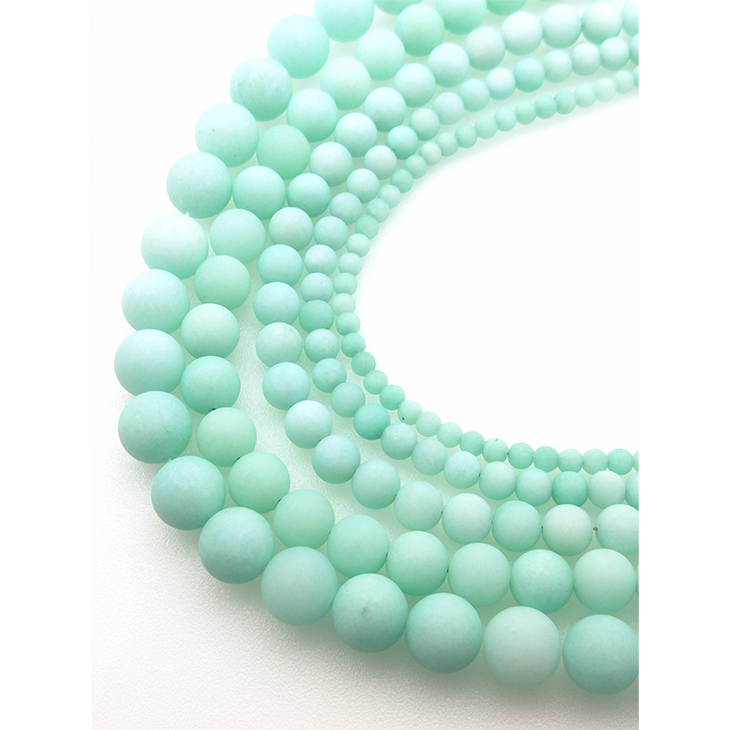 Natural Stone Blue Amazonite Frosted Beads Matte Round Loose Beads 4 6 8 10 12MM For Jewelry Making <font><b>Fit</b></font> DIY Bracelet Z1007 image