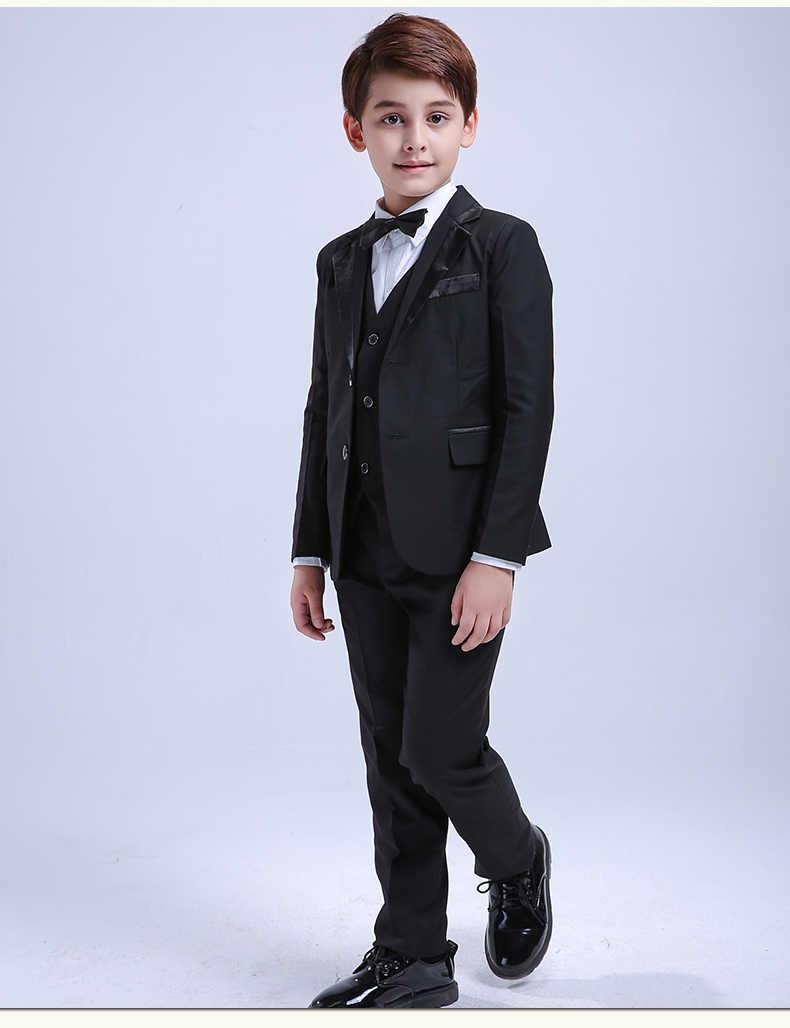 f6fe00480 ... 5 piezas negro niño niños trajes de boda Formal traje de niños vestido  de esmoquin de