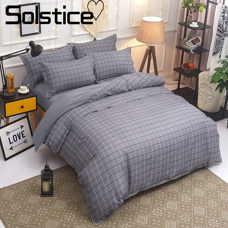 Solstice Home Textile Bedding Set Kid Teen Adult Boy Girl Bed Linen Plaid Duvet Quilt Cover Pillowcase Bed Sheet King Twin Queen