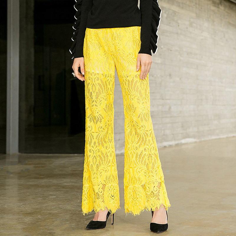 Lace hollow out flare pants 2018 new women autumn long pants