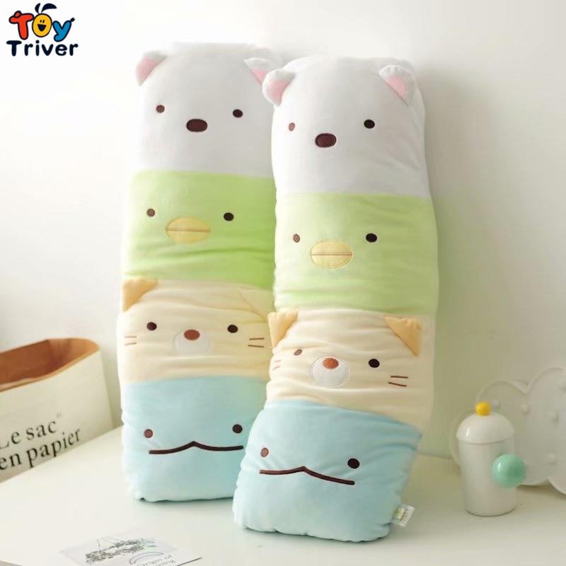 Japão anime sumikko gurashi gatos urso travesseiro dos desenhos animados brinquedo de pelúcia triver pelúcia animais boneca crianças presente aniversário decoração