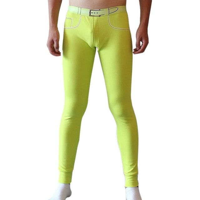 Высокого Качества для Мужчин Брюки Сна Плюс Размер Стрейч Узкие Брюки мягкие Длинные брюки с Низкой Талией Sexy Legging Штаны Случайные Пижамы LB