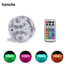 10 PCS Submersible LED Lights Waterproof with Remote Controls, Battery Operated RGB for Aquarium Pond Fountain Vase Pool Party new dhl 50 pcs rechargeable lithium battery operated multicolors rgb led under table light with remote controller