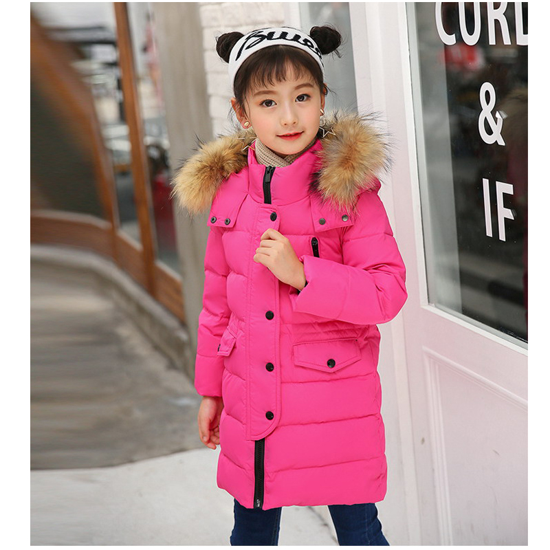 Baby Girls Winter Coat Made of Duck Down Winter Jackets Big Fur Hooded Casual winter clothing age 3 4 5 6 8 10 12 years princess girls winter coat long duck down thick faux fur hooded winter jacket for kids girls age 6 8 10 12 14 years old