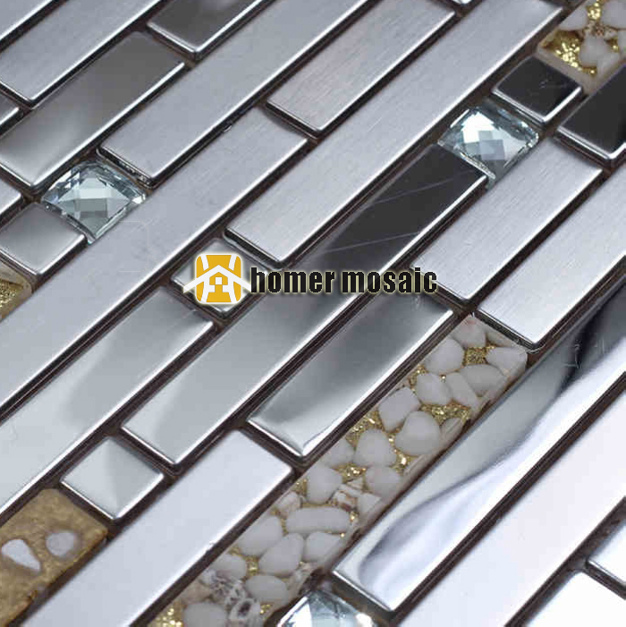 silver strip brushed stainless steel metal mixed sea shell for kitchen backsplash tiles fireplace mosaic hallway HMB1361 silver strip brushed stainless steel