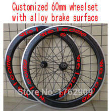 New customized 700C 60mm clincher rim Road bicycle 3K UD 12K carbon fibre bike wheelsets with alloy brake surface Free shipping