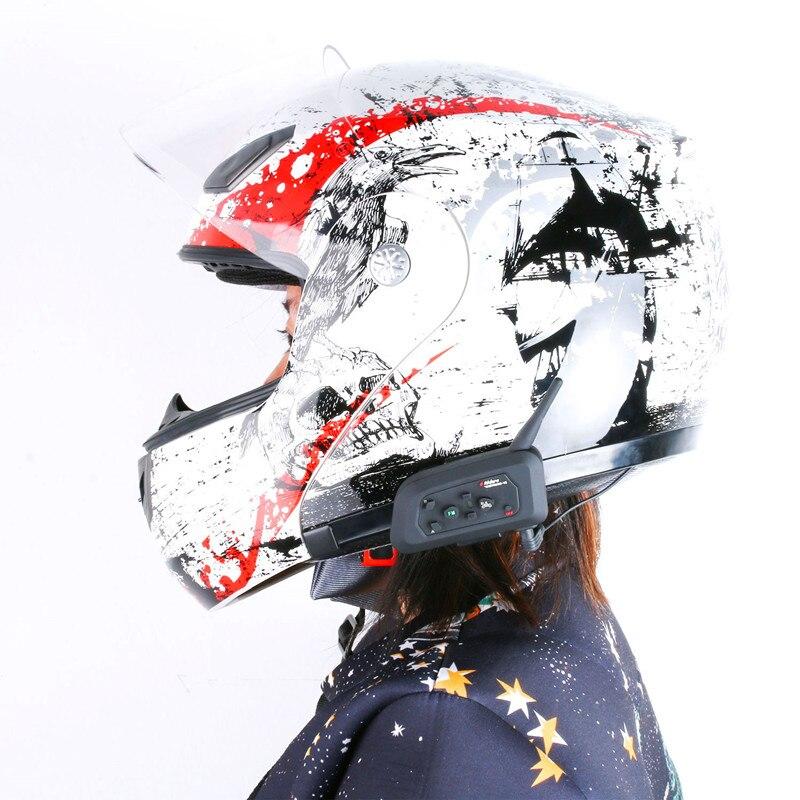 2Pcs/Lot V4 1200M Bluetooth Motorcycle Helmet intercom Headset for 4 Riders Football Wireless Referee Waterproof Interphone