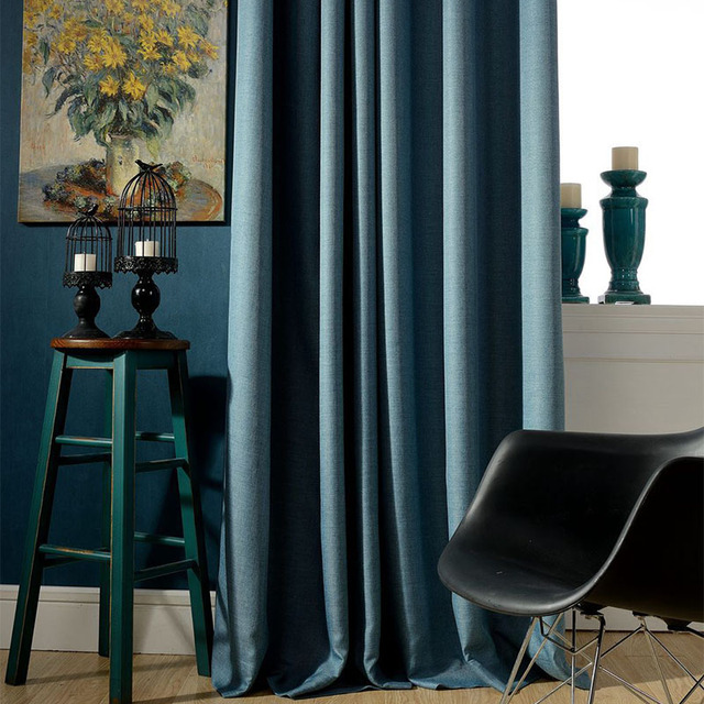 Online Shop Thick Linen Physical Blackout Curtain Fabric ...