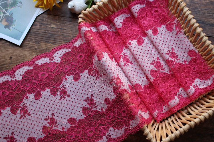 23CM  Width Vintage Rose Red Elastic Lace Trim Ribbon Fabric DIY Crafts Sewing Supplies Decoration Accessories