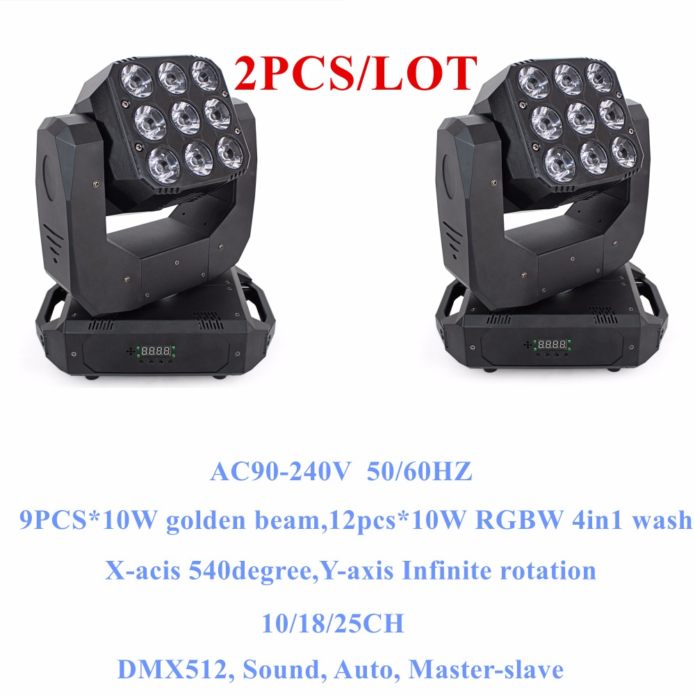 2PCS/LOT led moving head 12pcs wash and 9pcs golden Double-face Infinite Rotating moving head light for disco light wedding