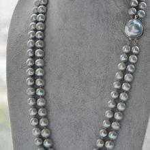 """> потрясающий двойной strands9-10mm южного моря серебристо-серый перл necklace1"""" 20"""""""