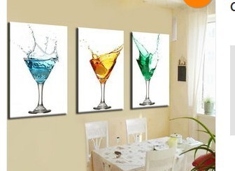 art for the kitchen track lighting hand made canvas wine glass oil painting picture 3 piece wall home bar cafe
