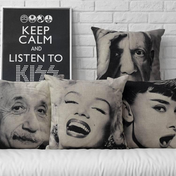 Celebrity Sketch Monroe Hepburn Einstein Pillow Cushion  Linen Pillows Office Lumbar Pillow Home Decorate Sofa Cushions