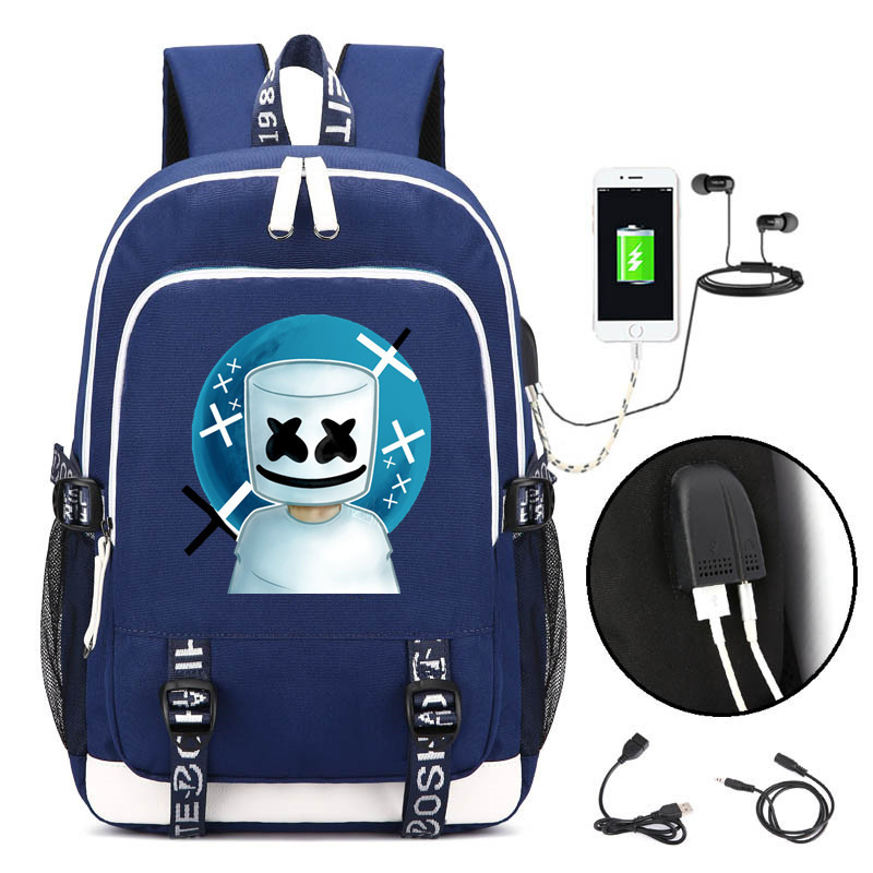 Marshmallow Cos Backpack USB Schoolbag 3D Printed DJ mello Cute Cartoon Printed Bag Daily Rucksack Student