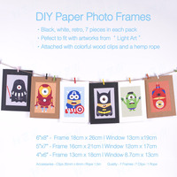 7Pcs 5x7 6x8 Paper Photo Poster Print Picture Frame Handmade Black White Vintage DIY Accessary Supply