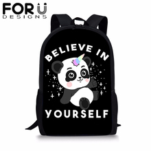 FORUDESIGNS Cute Panda Unicorn School Backpack for Teenager Girl Boy Students Cartoon BookBag 16 inch Satchel Daypack Mochila