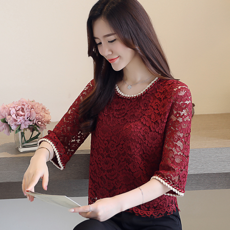 4383c9a5434893 New hollow out round neck Cropped Women fashion shirt thalf Sleeve Flower  Printed Blouse blue red Casual ruffle blouse Tops 590A