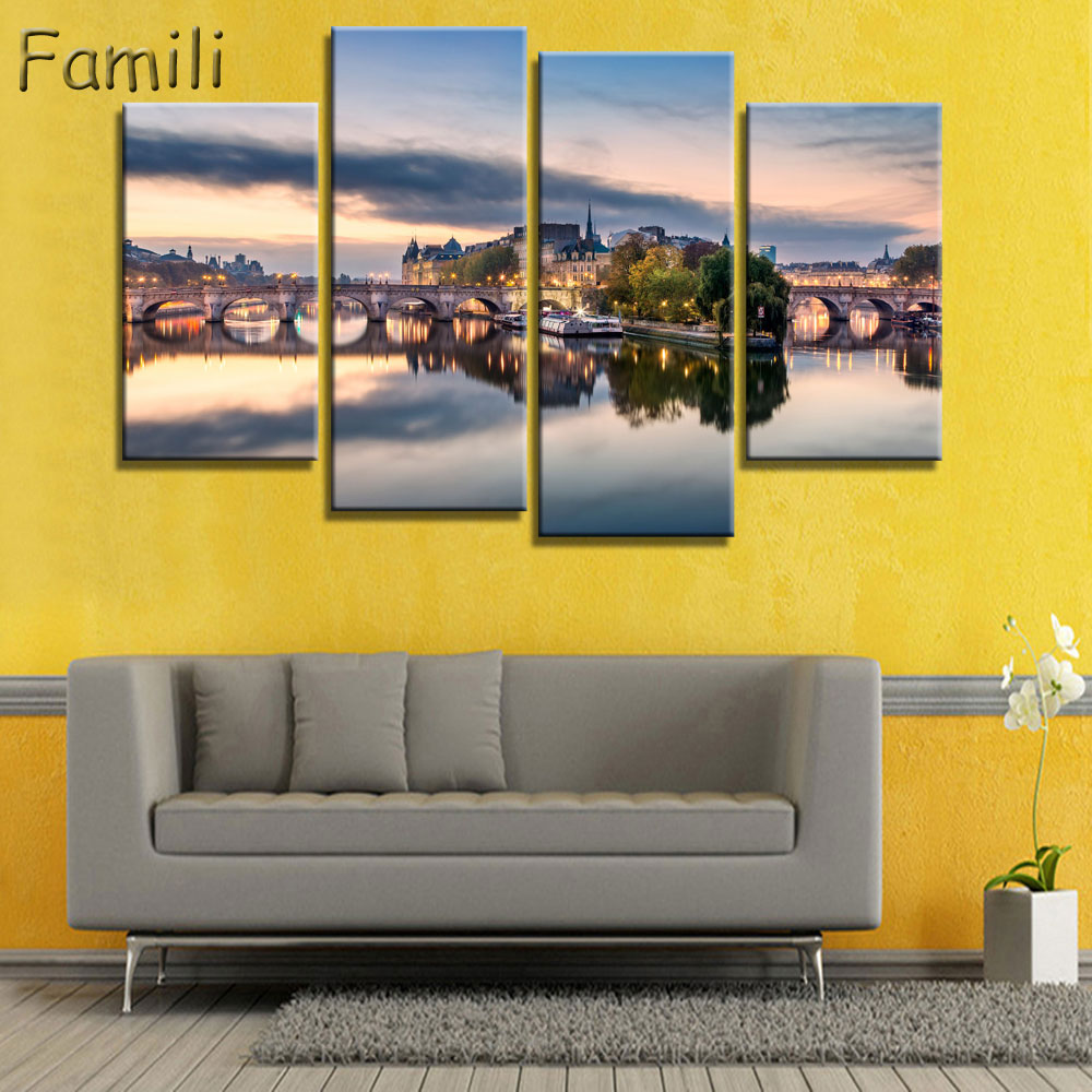 4 panel canvas art Modern Printed Landscape Painting Canvas Wall Art ...
