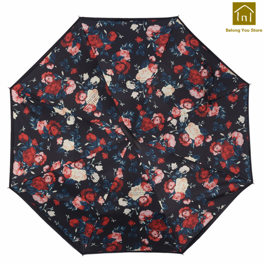 Étoile inverse Parapluie hommes automatique pluie femmes haute qualité Uv Parasol parapluies Parapluie Femme imperméable ombre fournitures LKW128