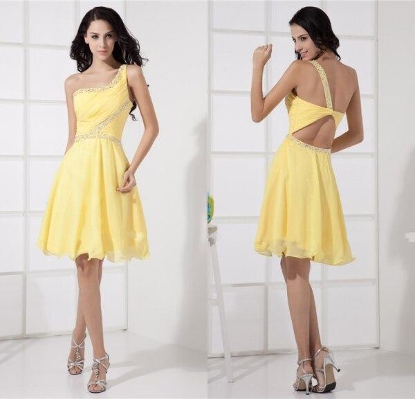 Vestidos de coctel cortos amarillos