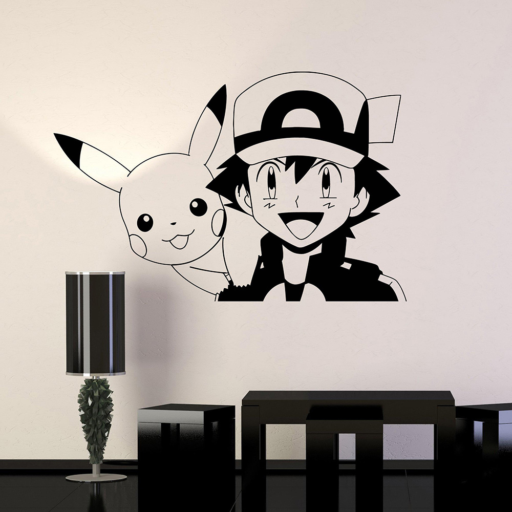 Pokemon Pikachu Anime Manga Vinyl Wall Decal Cartoon Home Decor Kids Room Bedroom Art Mural Wall Stickers